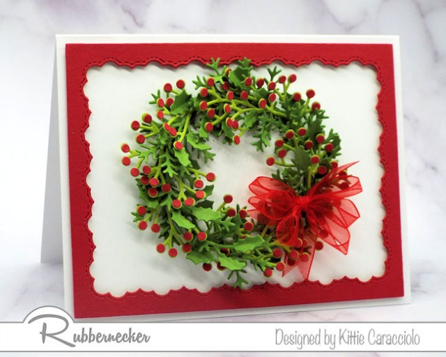 This stunning card shows the results of learning how to make a wreath with die cuts with its impressive layering of die cut greenery and accents all from Rubbernecker