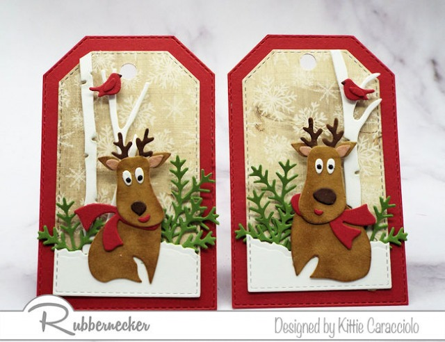 two cute diy gift tags made using die cuts from Rubbernecker to create happy reindeer, winter greenery and beautiful miniature birch trees