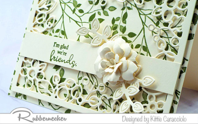 One of my handmade friend card ideas that can be converted into many other designs using die cut frames and shapes around a lovely sentiment stamp, all from Rubbernecker