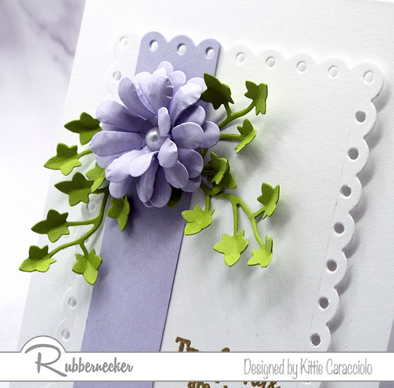 It's easy to make paper flower embellishments like this realistic looking blossom when you start with dies from Rubbernecker