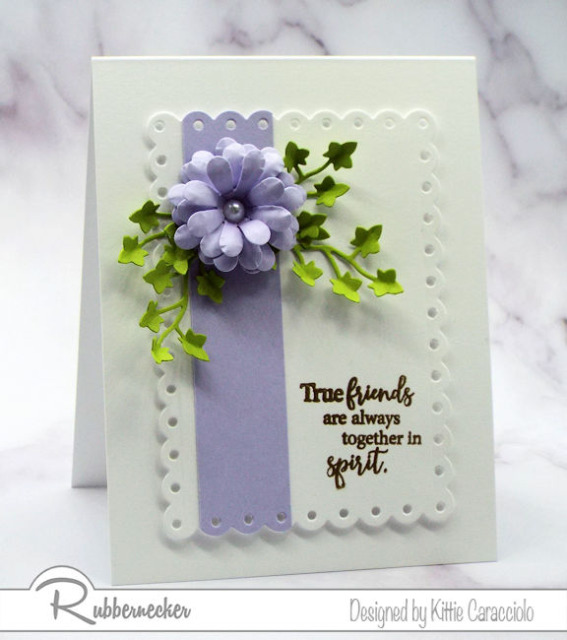 Using a few of my tips and tricks, you can make beautiful paper flower embellishments like this pretty purple blossom as focal features on your own handmade cards