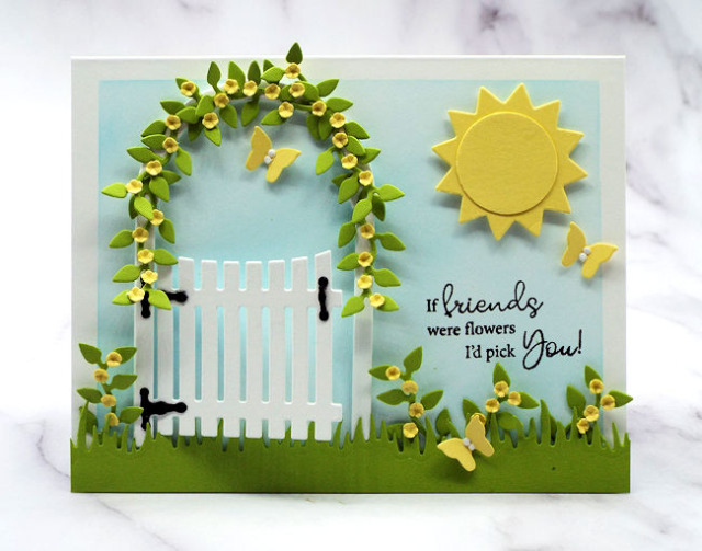 This garden gate card can be adapted from this spring theme to any other season using different die cuts
