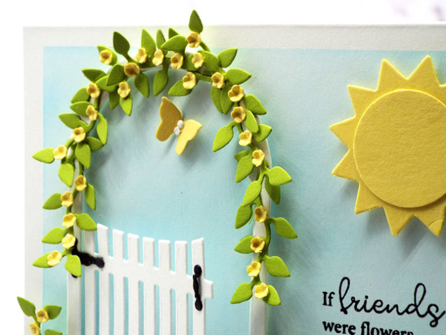 This closeup of today's garden gate card shows the exquisite detail from the die cuts from Rubbernecker