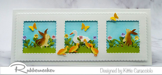 Come over and check out one of my favorite ideas for making slimline happy spring cards.