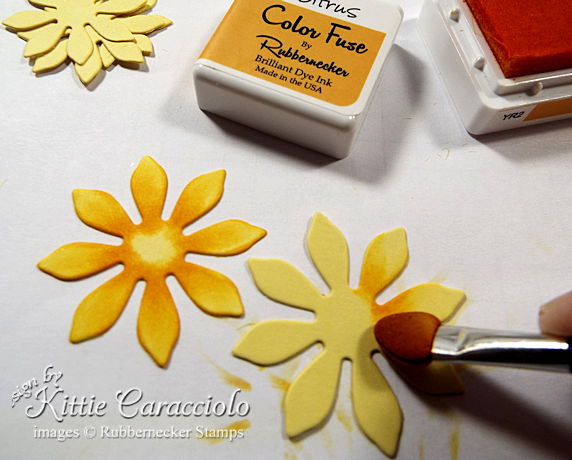 Shade simple die cut petals like these from Rubbernecker to create a stunning sunflower - paper flower tutorial on the blog