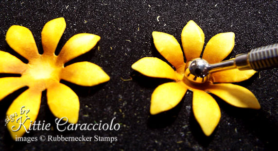 Use some simple shaping on die cut flower petals to creata a 3D sunflower - paper flower making tips on the blog