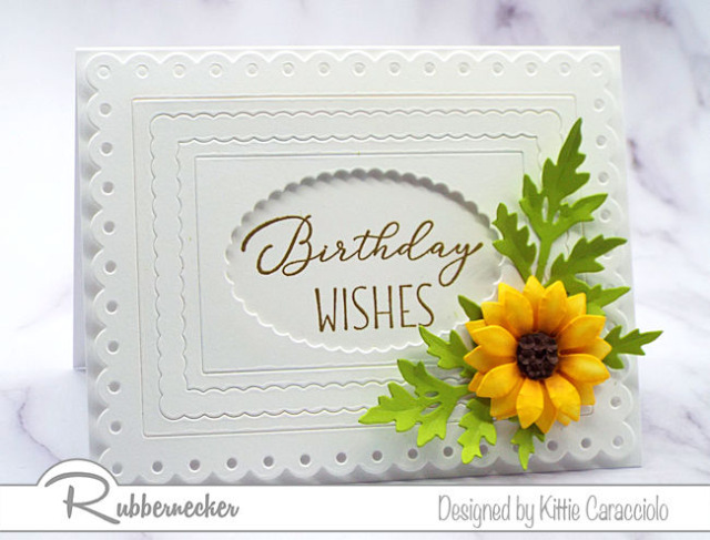 This white on white multi layered card features a single stunning sunflower - paper flower tutorial on today's post will show you how