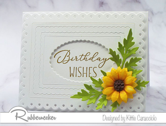 This beautiful hand shaped sunflower paper flower is the perfect stand alone accent for this white on white birthday card made with dies from Rubbernecker