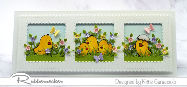This slimline design for easter chick cards to make this year takes full advantage of all the little characters in this new set from Rubbernecker