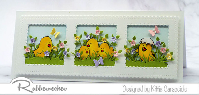 This idea for easter chick cards to makeand send this year uses a slimline base for extra space for all those little cuties from Rubbernecker!