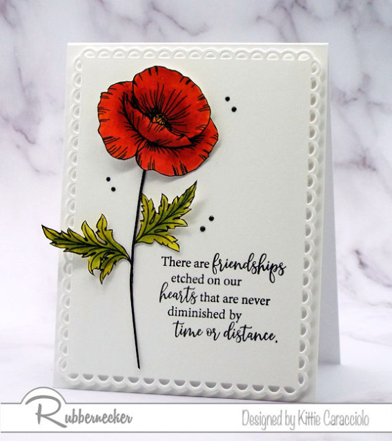 A CAS poppy card made with stamped and hand colored images and a simple greeting