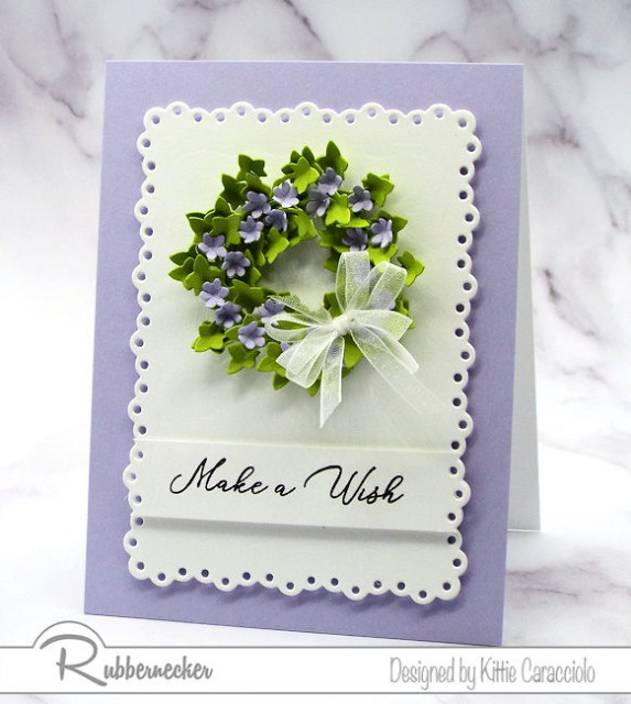 birthday wreath card made with die cuts from Rubbernecker to create a stunning tiny paper wreath of ivy and flowers