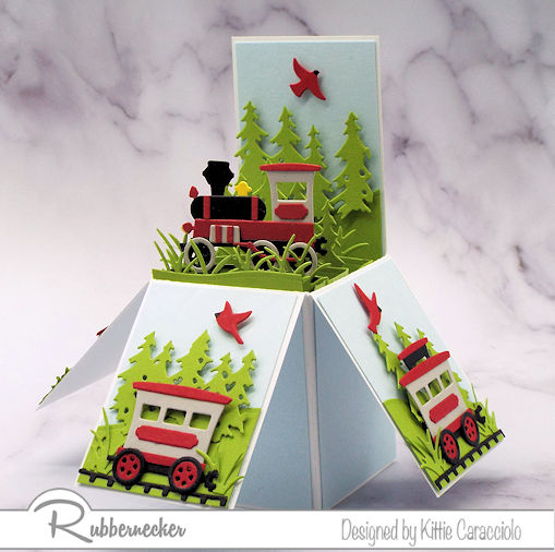 A Cute Pop Up Explosion Card With a Vintage Train!