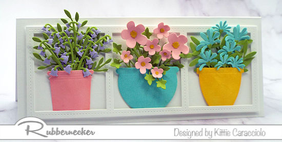 a handmade slimline flower pot card created from detailed flower dies from Rubbernecker