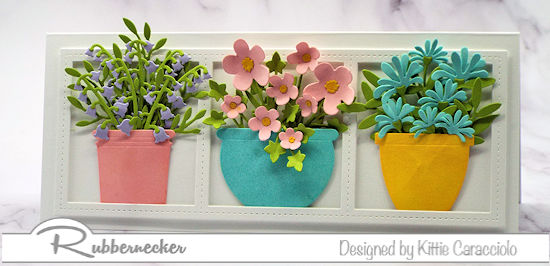 a slimline flower pot card handmade using beautiful detailed card making dies from Rubbernecker