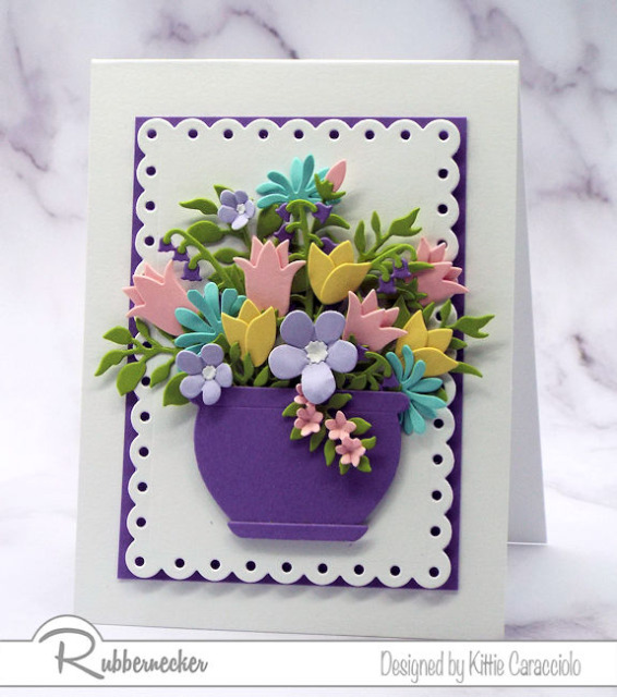 I used all five flower die cut sets from the new Kittie Kraft by Rubbernecker collection to make this card with a packed flower arrangement on the front