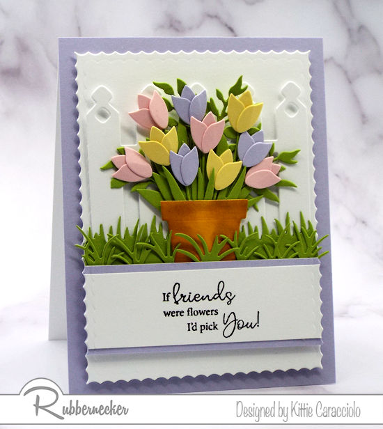 add a little ink to make die cut terracotta pots look as real as the paper flowers shown on this handmade greeting card