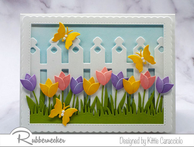 coloring die cut flowers using Rubbernecker dies adds lots of extra dimension and a lovely 3-D effect like here on these spring colored card stock tulips