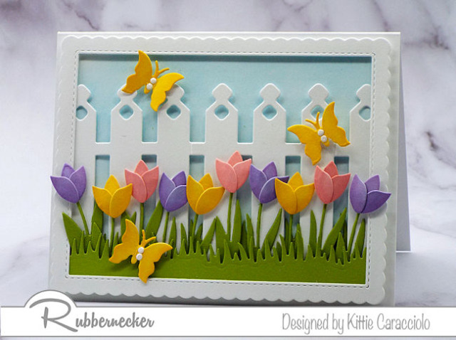 new dies from Kittie Kraft by Rubbernecker! - detailed garden fence and beautifully shaped tulips