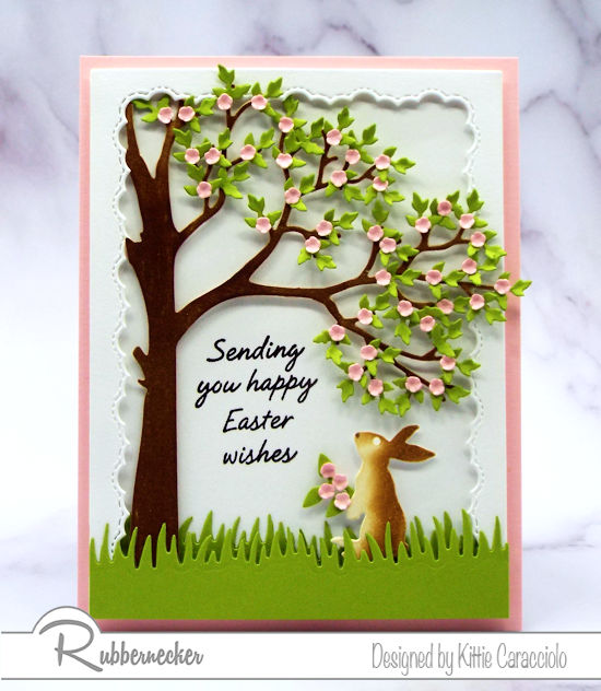 Today's idea for handmade Easter cards using dies from Rubbernecker to create a tree in full spring bloom with a darling bunny