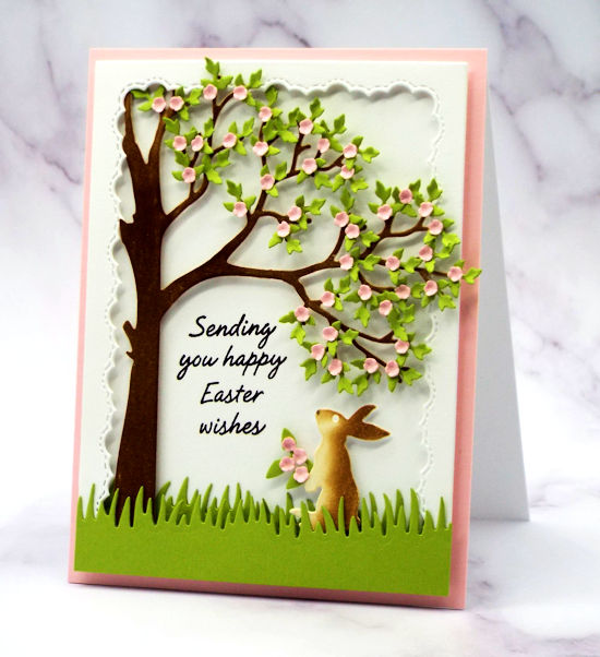 One of my handmade Easter cards made using my new tree die, lots of pretty foliage and a darling little bunny all made with die from Rubbernecker