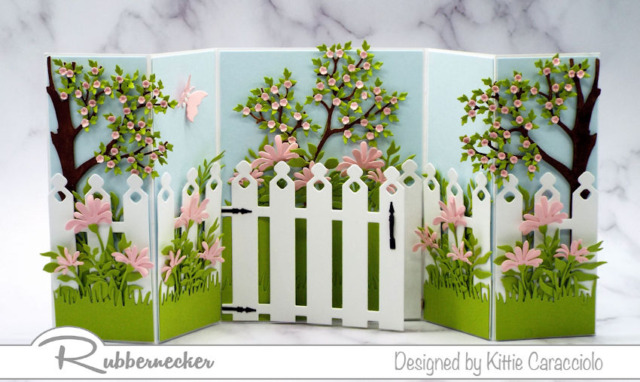 new dies from Kittie Kraft by Rubbernecker - garden fence and detailed tree trunks