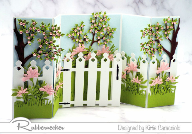 This is such a pretty shutter card design with a garden spanning all the panels and it was so fun to make using all the new dies from Rubbernecker