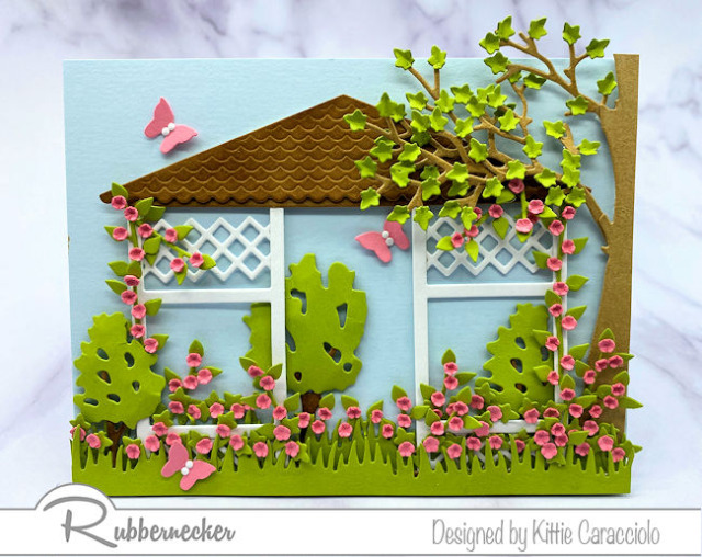 An idea for garden greeting cards starting with this detailed gazebo die cut from Rubbernecker ready to be customized