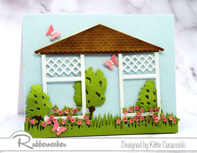 all your summery garden greeting cards can start with this adorable die cut scene using the new detailed gazebo and new sized summer trees from Rubbernecker