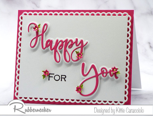 die cut words and phrases from Rubbernecker were used with just one stamp and some tiny details to create this one of four quick and easy handmade greeting cards