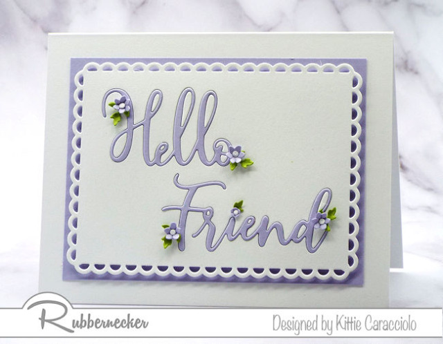 die cut words and phrases - with just a few tiny touches like these die cut flowers - can make a whole card when you use a clever design like this one of four shared today