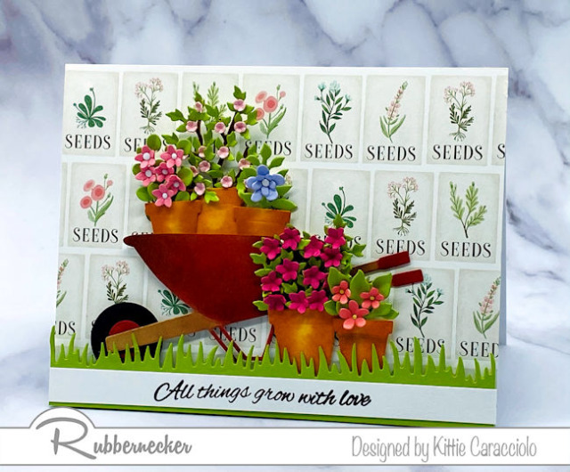 a die cut flower card loaded with extra details to make all the paper elements from Rubbernecker look realistic
