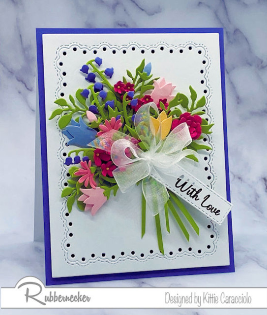 ways to use leftover die cuts beautifully and creatively by making a paper flower bouquet to put on a handmade card