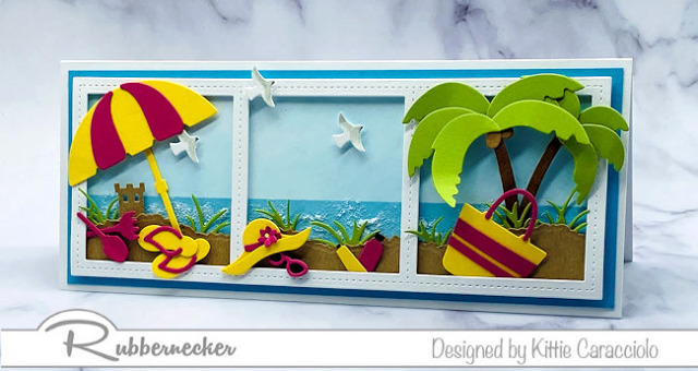slimline cards beach ready in a whole scene made using dies from Rubbernecker