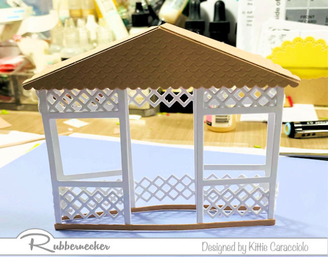 a 3D paper gazebo from Rubbernecker to be used on today's floral gazebo card