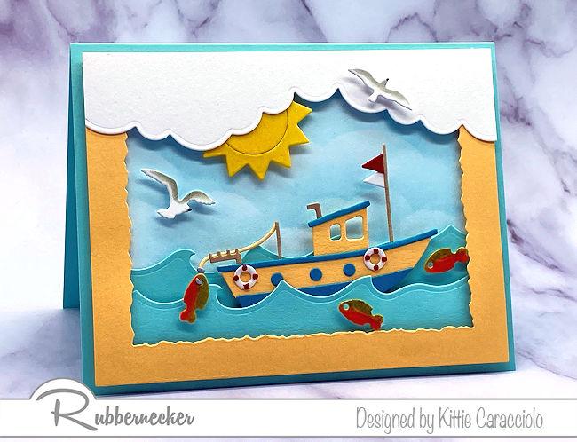 A Handmade Fishing Boat Card