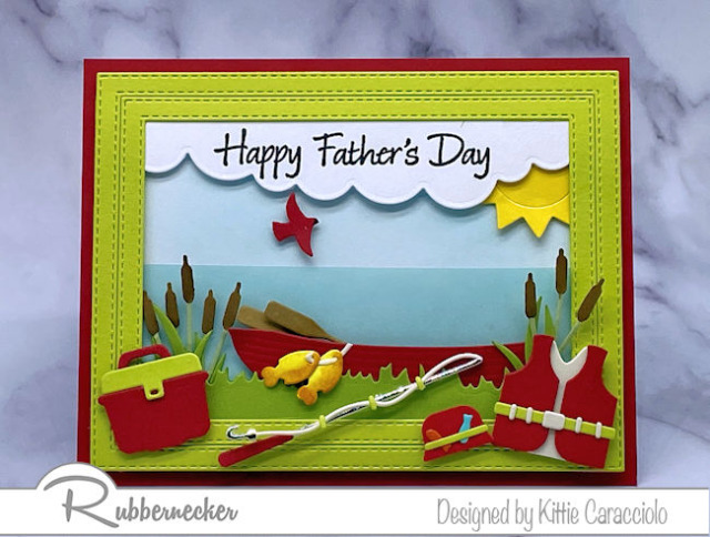 a mix of old and new dies from Rubbernecker provided all the realistic details on this Father's Day fishing card