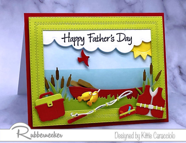 this handmade Father's Day fishing card is loaded with die cut details from Rubbernecker