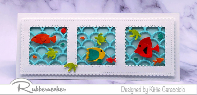 this handmade tropical fish card with its three windows sharing delightful details can be used for many occasions
