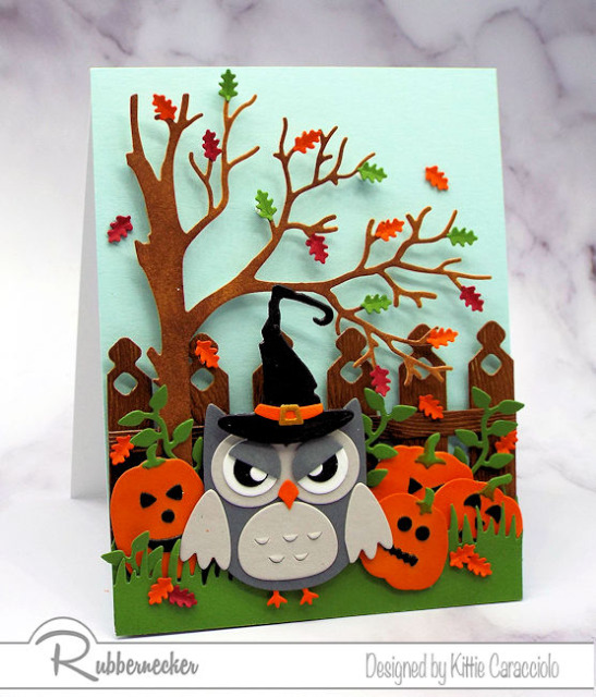 make some cute, not spooky DIY Halloween cards with cute die cut owls and their little costumes from Rubbernecker