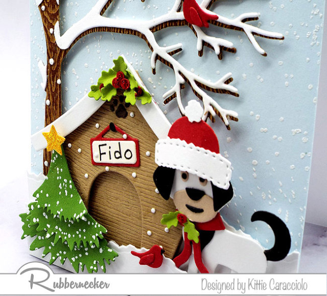 an example of handmade funny Christmas card ideas with dogs loaded with details thanks to dies from Kittiekraft by Rubbernecker