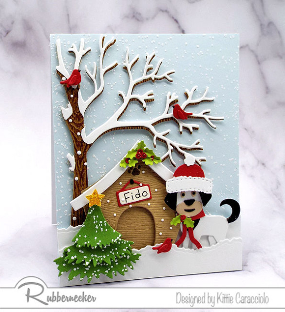 funny Christmas card ideas with dogs made using dies from Kittiekraft by Rubbernecker to create all the elements on this handmade card