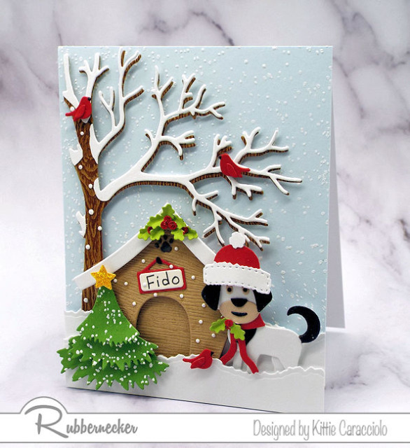 dies from Kittiekraft by Rubbernecker created the handmade elements to show off today's funny Christmas card ideas with dogs
