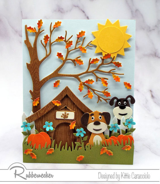 dog die cuts from Kittiekraft by Rubbernecker arranged in different ways to represent different breeds on one handmade greeting card