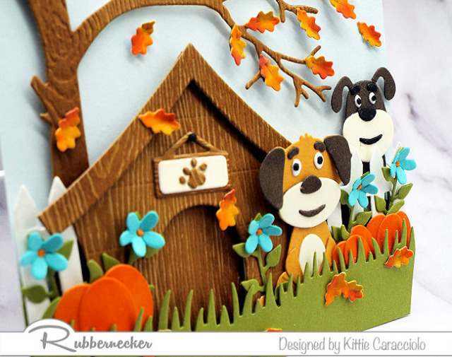 dog die cuts from Kittiekraft by Rubbernecker up close to show all the detail created on this handmade card