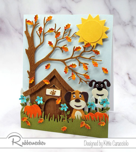 brand new dog die cuts from Kittiekraft by Rubbernecker used to make two cute dogs in a scene on a DIY greeting card