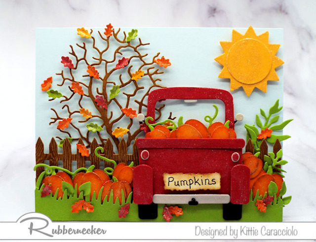 One of my fall themed red truck cards made using new dies from Kittiekraft by Rubbernecker
