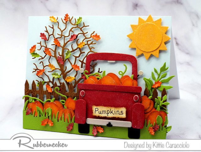 red truck cards are super popular and this one loaded with fall foliage and cute die cut pumpkins works for any occasion
