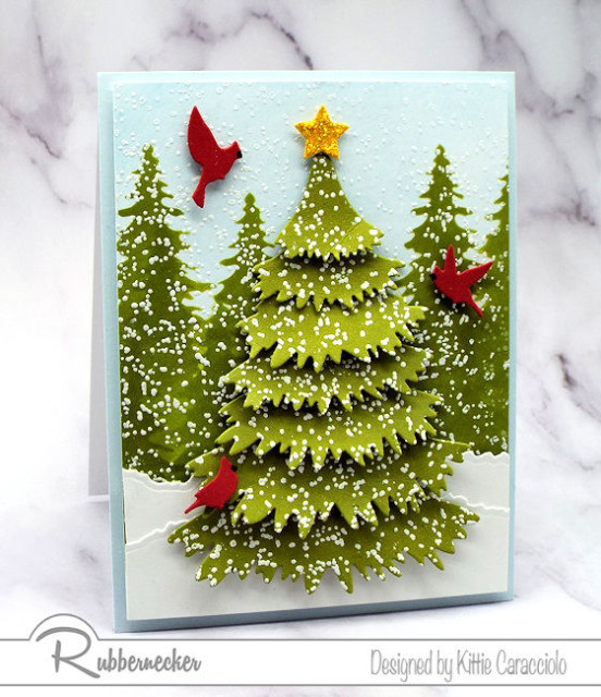 a new set of cleverly designed Christmas tree dies from Kittiekraft by Rubbernecker created this stunning winter card