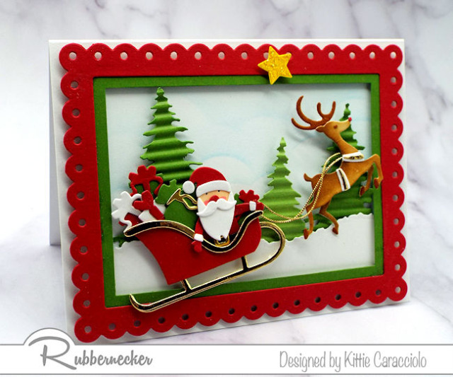 each special detail on this adorable DIY santa claus card was created with new dies from Kittiekraft by Rubbernecker